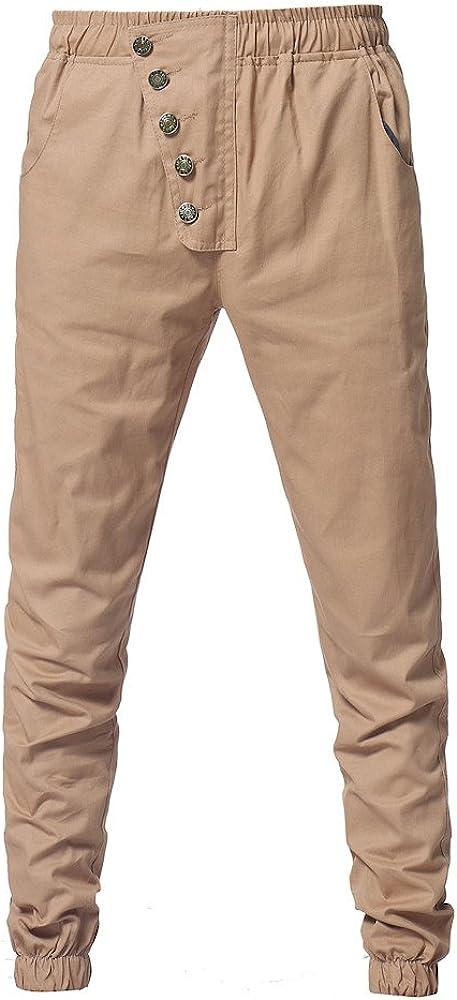YanHoo Pantalones de chándal Sueltos Ocasionales del botón del ...