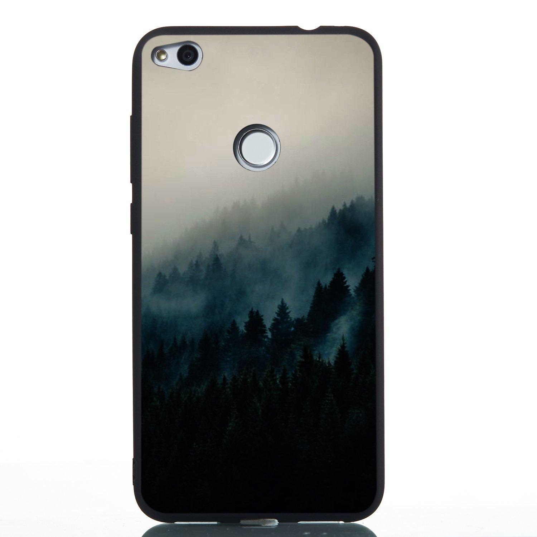 Misteem Retro Hü lle fü r Huawei P9 Lite 2017 Muster [Nebel Wald], Schwarz Extra Dü nn Licht Bunt Softcase in TPU Silikon Shell Stoß fest Schutzhü lle fü r Huawei P8 Lite 2017 Matt Black