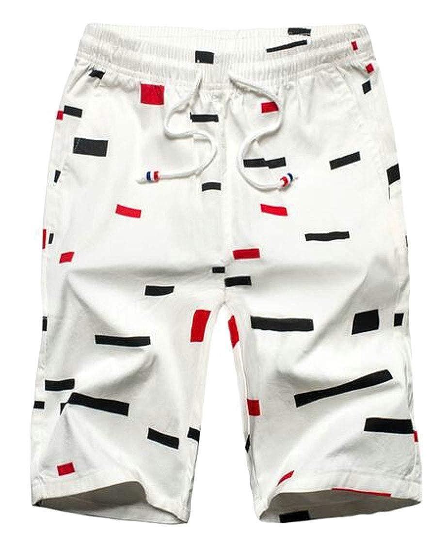 X-Future Mens Casual Business Printed Cotton Elastic Waist Flat-Front Dress Shorts Pants