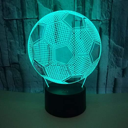 Colorido fútbol 3D Creativo Visual luz Nocturna 3D estéreo lámpara ...