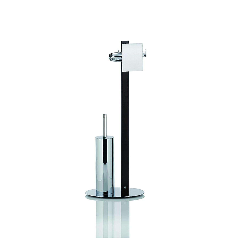 Kela 20813 set WC support papier toilette + brosse - bois de noyer et métal chromé - 'Antares'