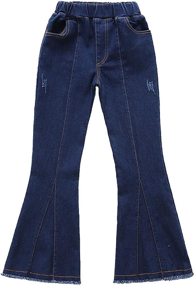 60s 70s Kids Costumes & Clothing Girls & Boys Zukzi Girls Dark Blue Mid Waist Raw Hem Flare Bell Bottom Jeans $17.99 AT vintagedancer.com
