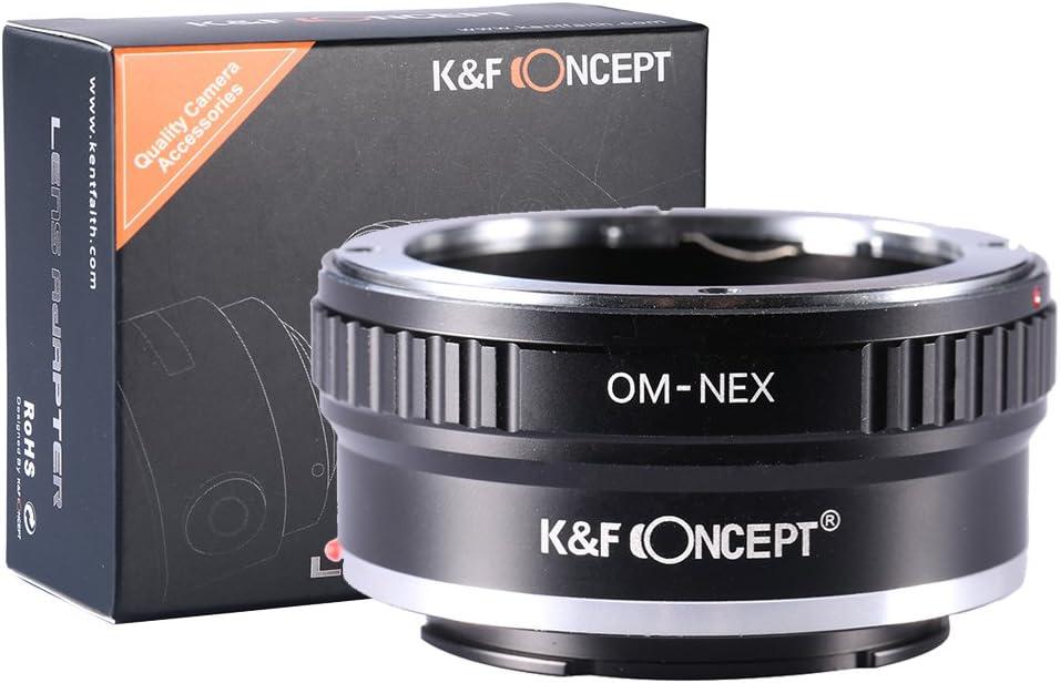 K/&F Concept Lens Mount per Olympus Zuiko OM Mount Lens a Sony Alpha E NEX Mount Camera per Sony Alpha A7 A6000 A6300 A6500 A5000 A5100 NEX 7 NEX 5 NEX 5N 6 NEX 3N OM-NEX Adattatore da OM a Sony E