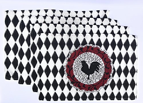 - Tapestry Set of 4 Black Rooster Place Mats with Red Accent on Black and White Diamond Background.