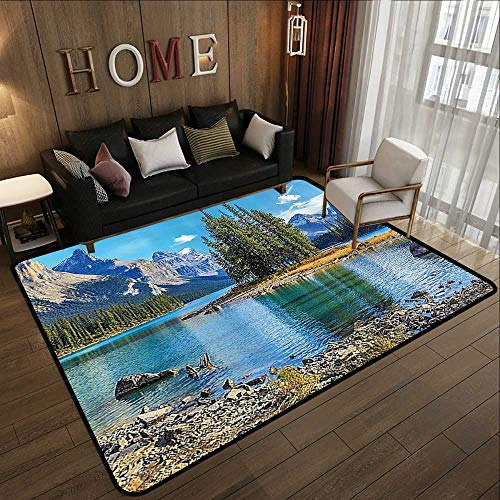 Rugs,Lakehouse Decor Collection,Scenery of Spirit Island on Maligne Lake Canada in a Summer Time with Mountains Image,Green 78.7
