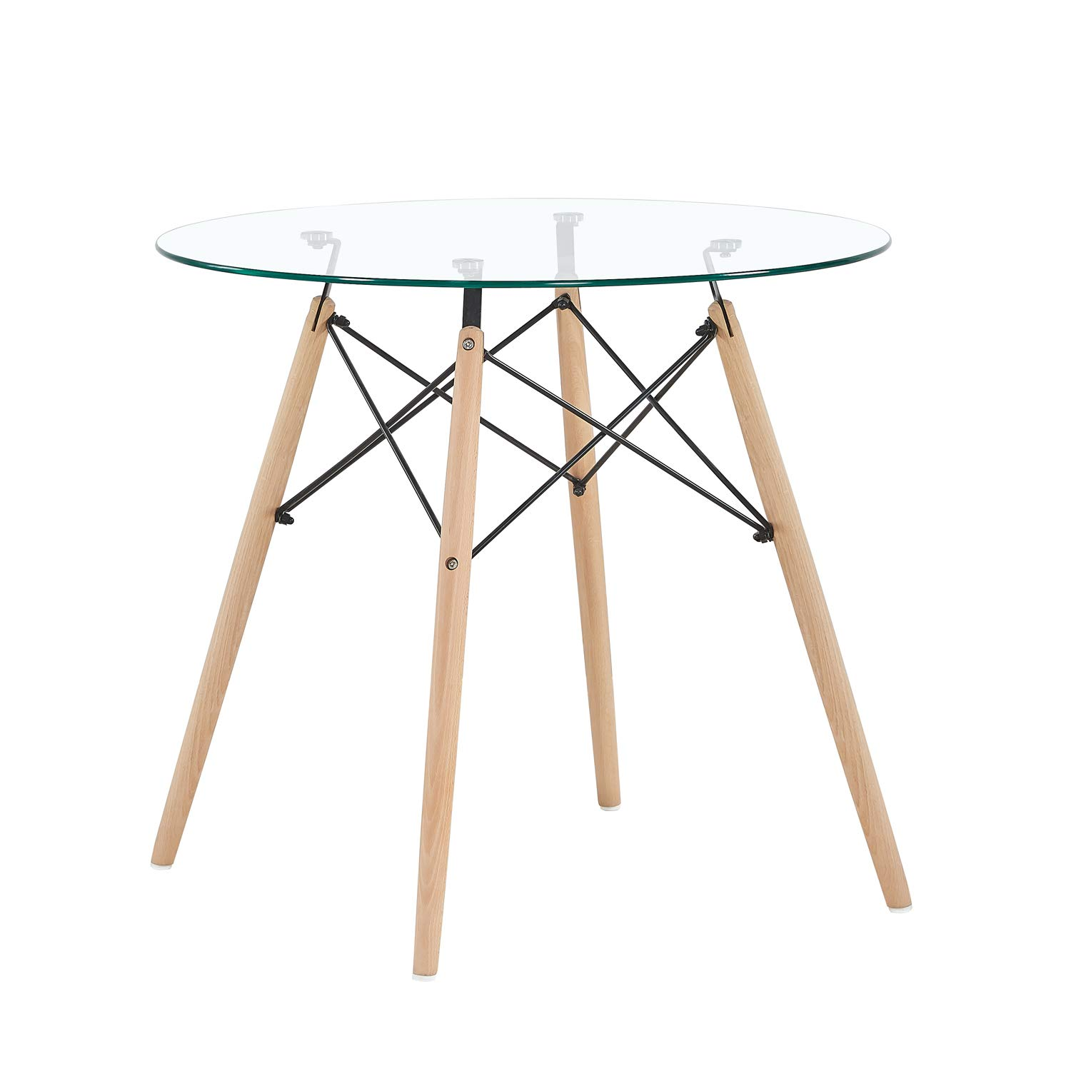 Mcombo Dining Table Round Glass Table Coffee Table for Kitchen Dining Room