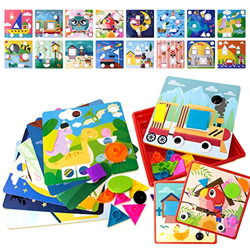 Color Button Art Toys for Toddler MaxSweetun Preschool Learning Color Shape Matching Mosaic Pegboard Early Learning Development Toys for 3+ Year Old Kids