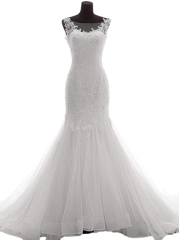 Oyisha Long Mermaid Wedding Dresses 2018 Appliqued Lace Up Bridal