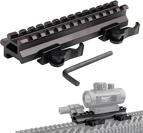 KnightTec Tactical Picatinny Riser Mount Rails Dual 90 y 45 Grados de liberación rápida Detach 13-Slot Medium Profile para Red Dot Scope Optics