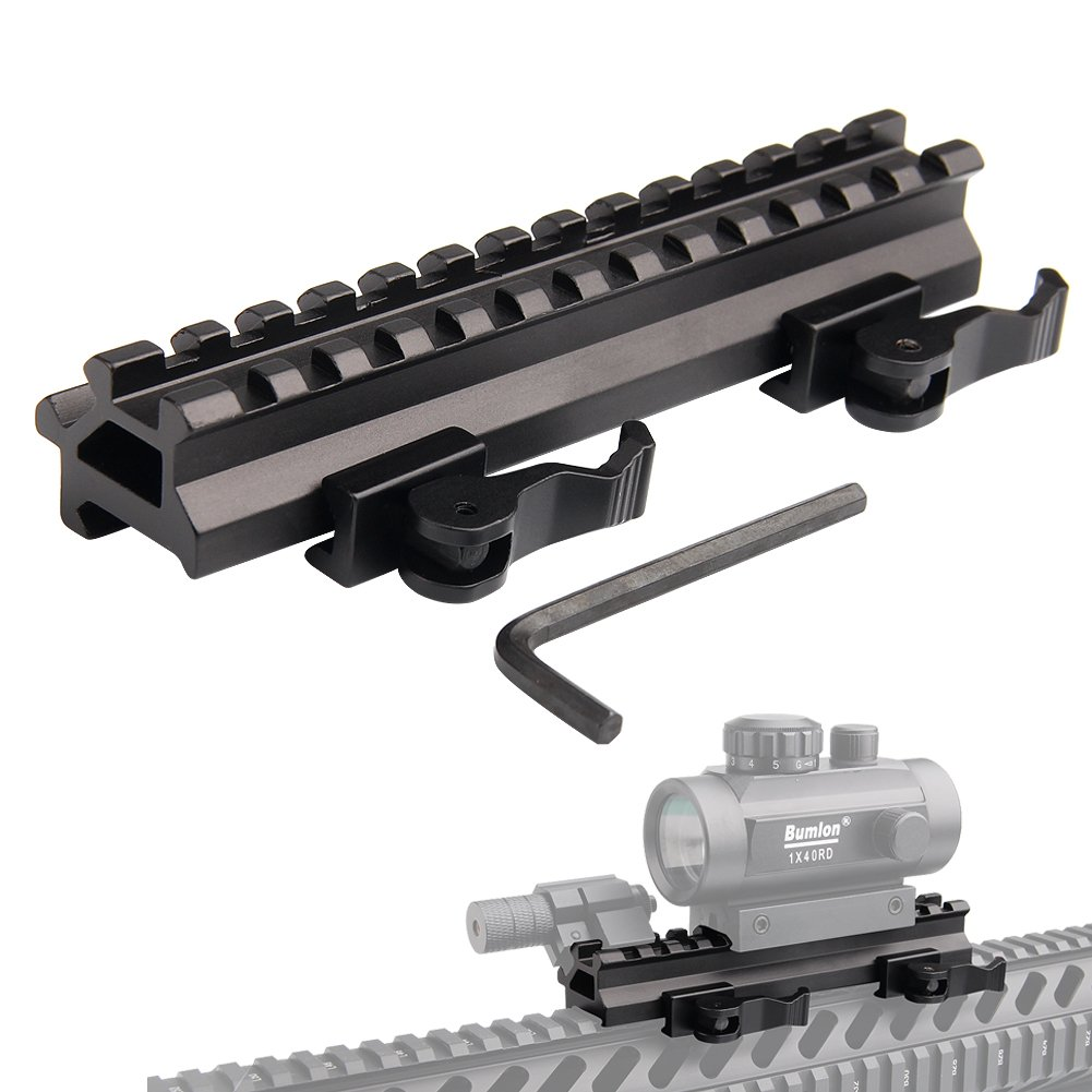 Tactical Picatinny Riser Mount Rails Dual 90 and 45 Degree Quick Release Detach 13-Slot Medium Profile for Red Dot Scope Optics by Bumlon