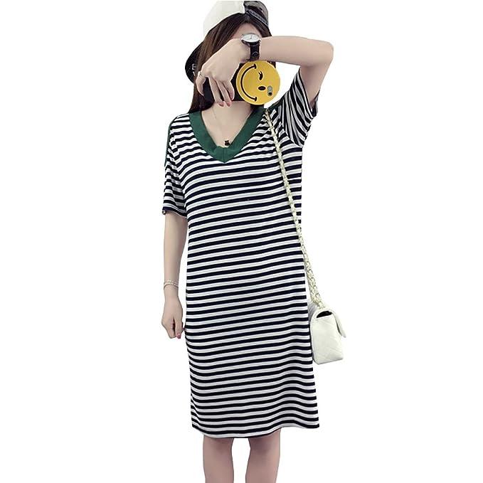 ZEVONDA Embarazo Vestido Lactancia Mujer - Moda Clásico Cuello en V Raya Premamá Blusa Maternidad Camiseta Vestidos Verano: Amazon.es: Ropa y accesorios