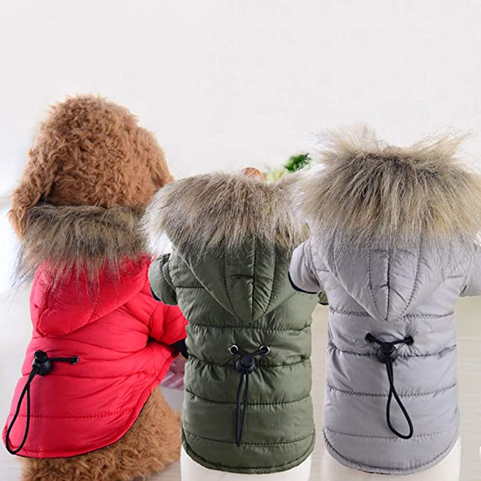 Amazon.com : BingYELH Pet Snowsuit Windproof Faux Fur Puppy Parka Coat Adjustable Dog Winter Jacket with Hood Dog Warm Outwear Dog : Pet Supplies