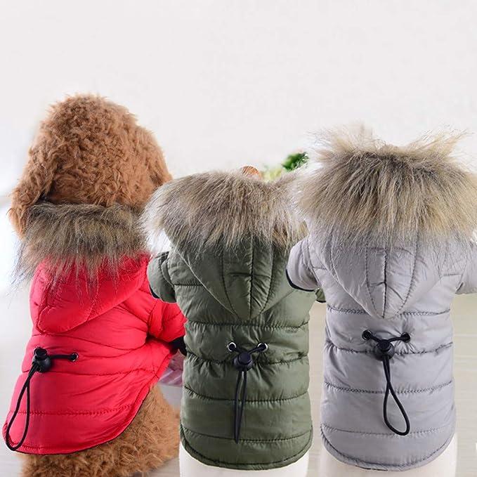 Amazon.com : BingYELH Pet Snowsuit Windproof Faux Fur Puppy Parka Coat Adjustable Dog Winter Jacket with Hood Dog Warm Outwear Dog : Pet Supplies