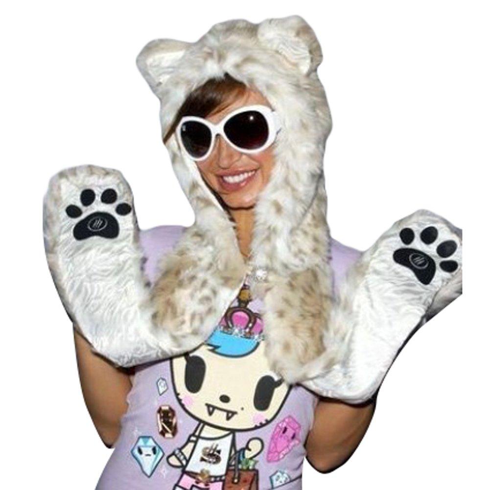 Julvie Faux Fur Full Animal Hood Hoodie Hat 3-in-1 Mittens Scarf Spirit Paws Ears