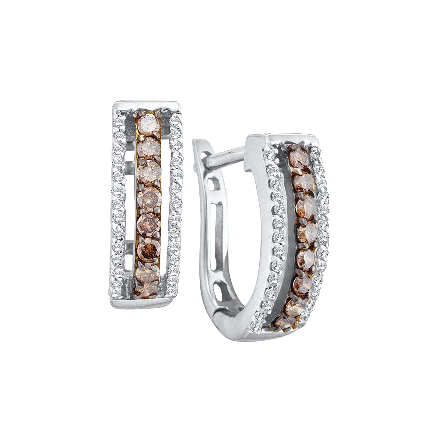 14k Yellow OR White Gold Channel Set Round Cut Brown Chocolate and White Diamond U Shape Earrings – 13mm Height * 5mm Width (1/2 cttw)