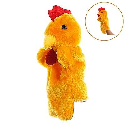 Juguetes animales del dedo linda muñeca de la historieta de los niños Guante marioneta de mano suave felpa de pollo: Juguetes y juegos