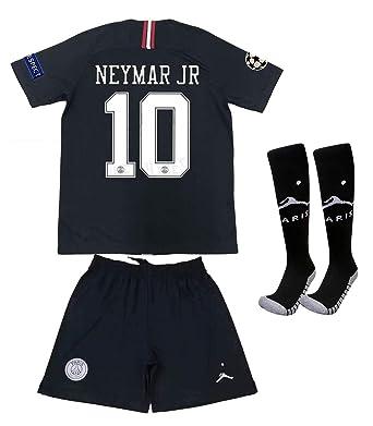 uk availability 35b3f 56b4f Saint George ii PSG X 10# Neymar JR 2018/2019 New Away Youths/Kids Soccer  Jersey & Armbands & Shorts & Socks Black/White