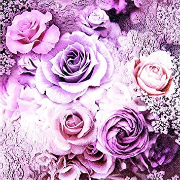 20 Servietten Evelien Rosen Lila Vintage Blumen Vintage