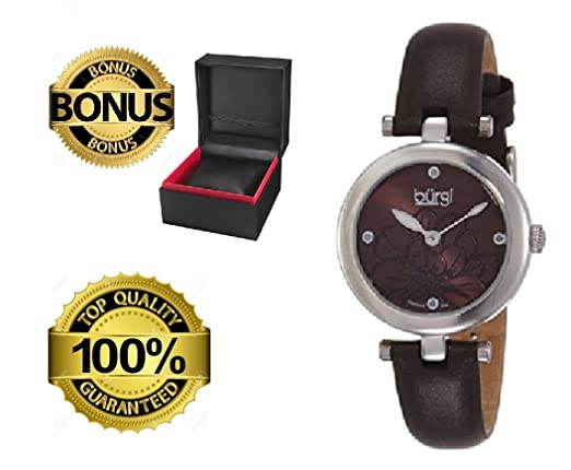 Amazon.com: Burgi Reloj de mujer bur128 hermosa flor de ...