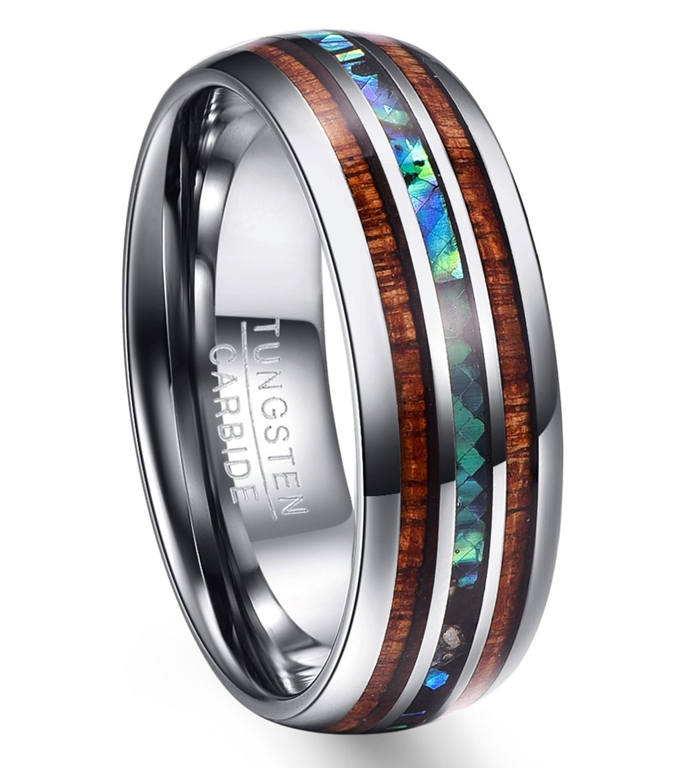 Vakki 8mm Wood & Shell Domed Wedding Ring for Men Tungsten Carbide Bands Polished Finish Comfort Fit Size 10