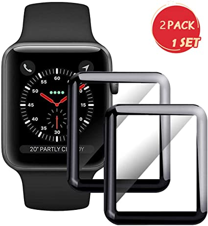 Smartwatch Screen Protector for Apple Watch 38mm Series 3/2/1-Max Coverage 3D Curved Tempered Glass Film [9H Hardness+Crystal Clear+Scratch ...