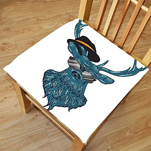 Nalahome Set of 2 Waterproof Cozy Seat Protector Cushion Antlers Decor Image of a Deer Hipster in Glasses Hat and Mustache Stylish Modern Fashionable Decor Teal Black Printing Size 18x18inch