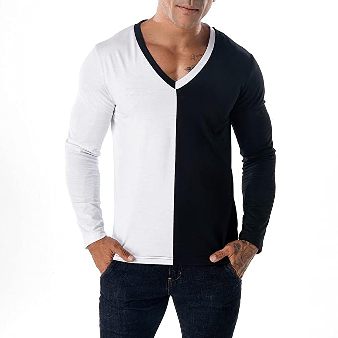 Resplend Camiseta de Manga Larga Delgada de Patchwork Casual para Hombre Camiseta de Manga Larga de