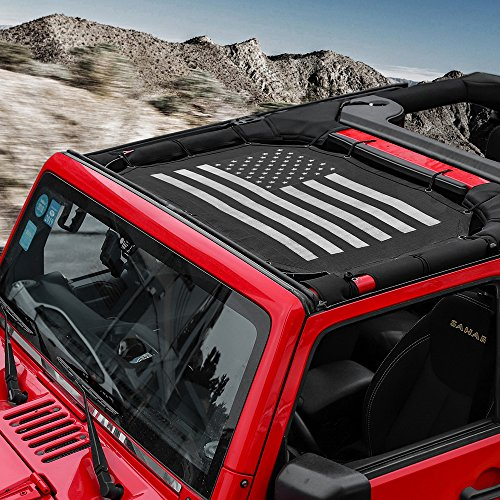 RT-TCZ US Flag Durable Mesh Sunshade Top Cover Provides UV Sun Protection for 2007-2017 Jeep Wrangler JK or JKU -2 Door(Black)