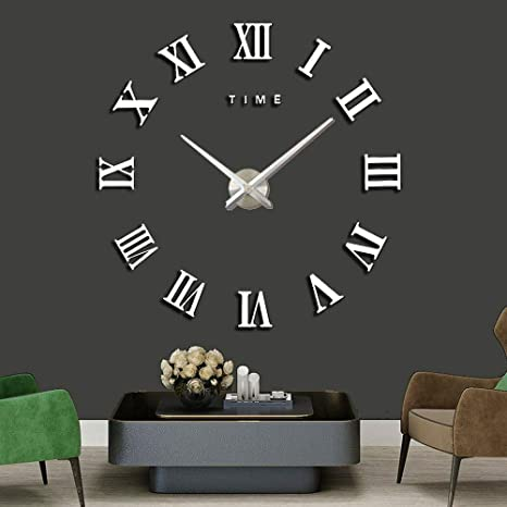 Amazon Com Xinlands Diy Wall Clock Silent 3d Acrylic Sticker Roman