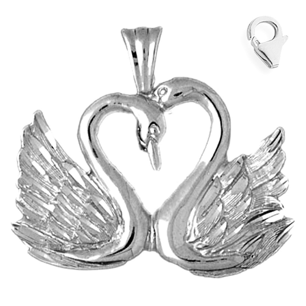 JewelsObsession Sterling Silver 29mm Swan Charm w//Lobster Clasp