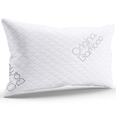Luxury PREMIUM Shredded Memory Foam Pillow { Standard / Queen } Cooling Sleeping Hotel Quality Adjustable Loft - Back or Side Sleeper Pillow Cool Bed Pillows For Sleeping Washable Hypoallergenic Cover