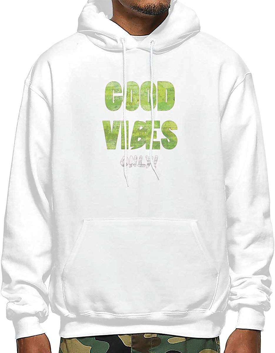 Good Vibes ONLY Mens Fashion Hooded Sweater Popular Style Design
