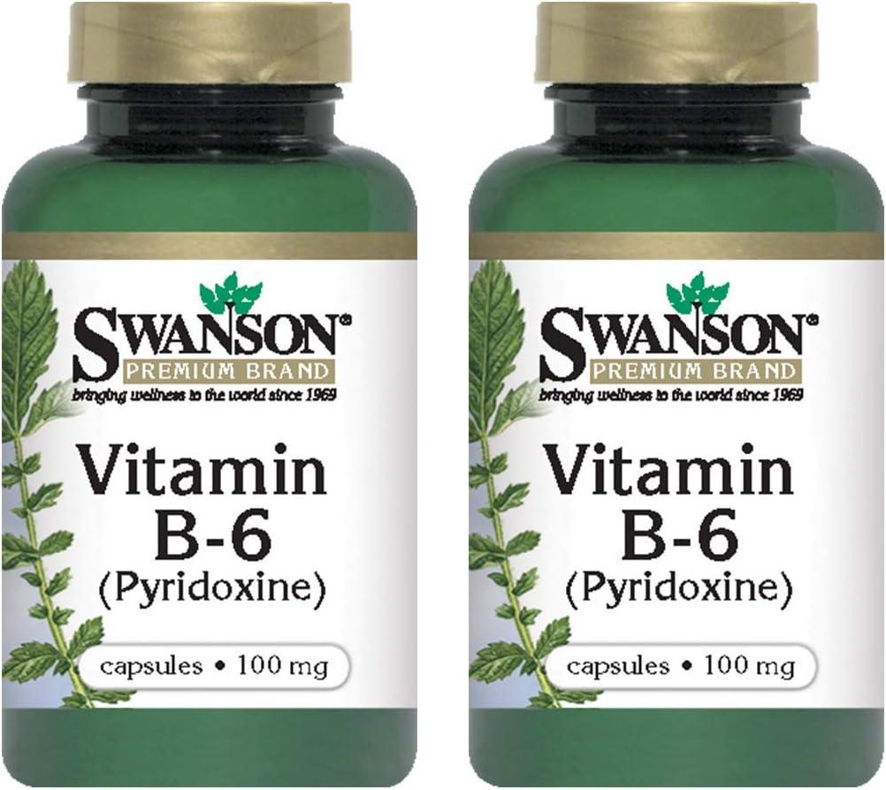 Swanson Vitamin B-6 (Pyridoxine) 100 Milligrams 100 Capsules (2 Pack)