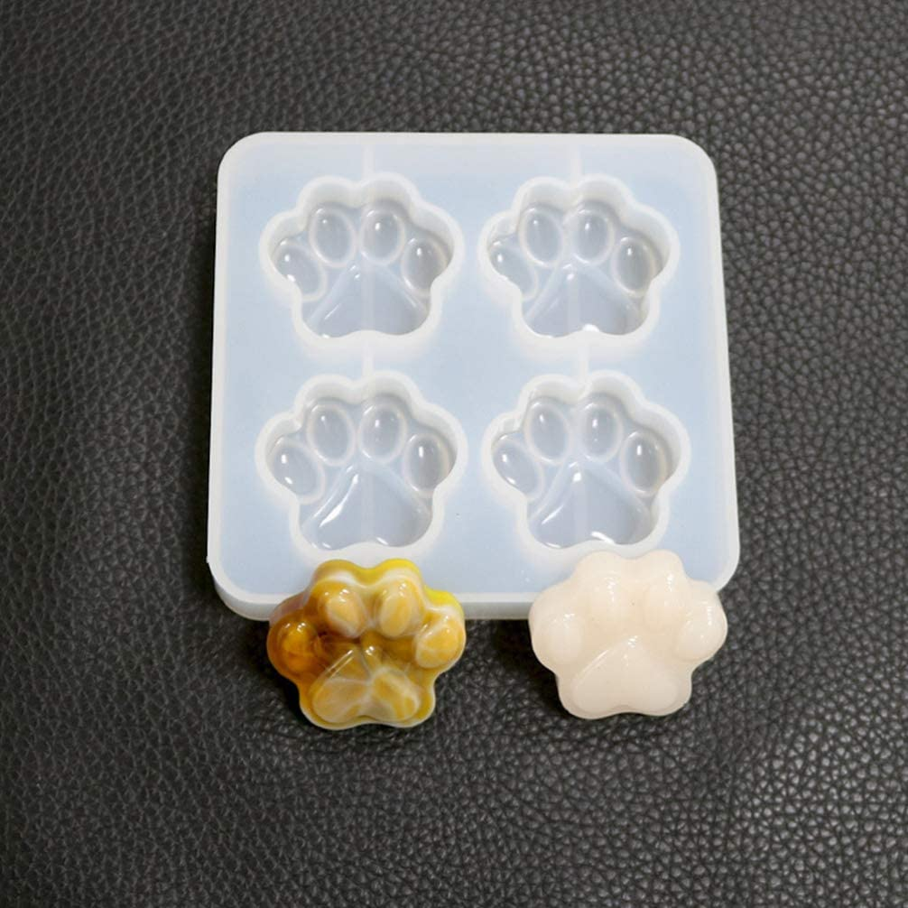 SUPVOX 2pcs Silicone Casting Molds Cat Paw Shape Epoxy Mold for DIY Gift Soap Candle Jewelry Necklace Pendant Making