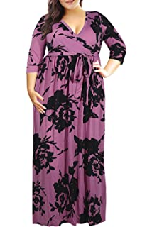 45be8ad5167 Nemidor Women s 3 4 Sleeve Floral Print Plus Size Casual Party Maxi Dress