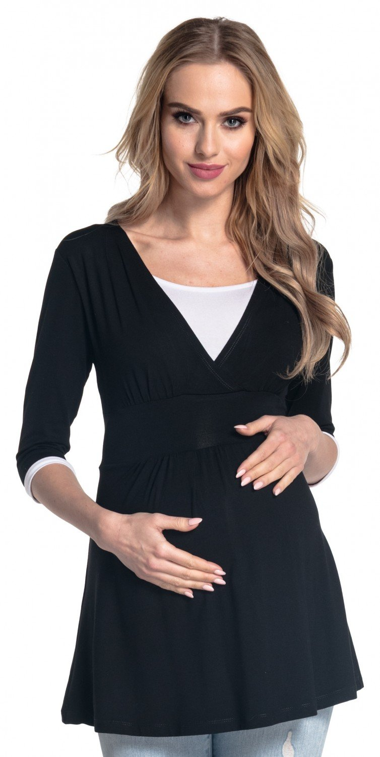 Happy Mama. Women's Maternity Nursing Top 3/4 Sleeves Double Layered Neck. 950p nursingtop_950