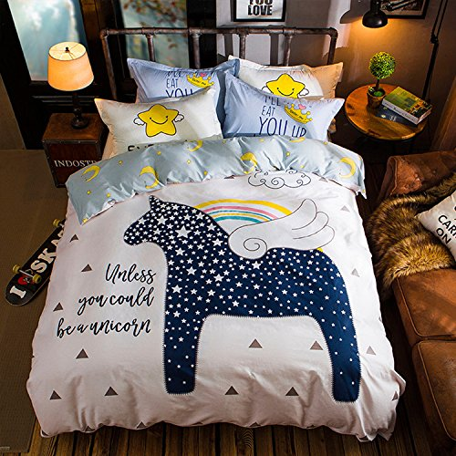 WarmGo Home Bedding for Adult Kids Star Horse Pattern Duvet Cover Set 4 Piece(Include 2 Personality Pillowcase Full/Queen Size Bedding Sets,Not Include Comforter by WarmGo