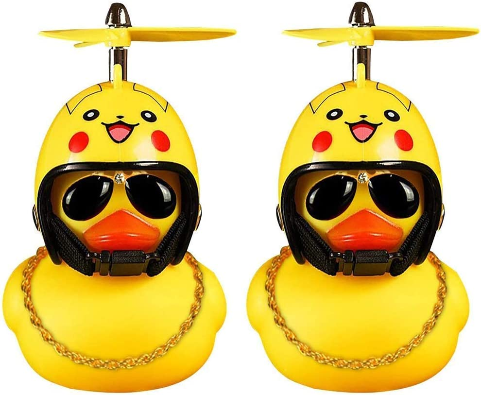 Men Set(Style 2 ) Kids DYBADYSA 1 Pcs Cute Rubber Duck Toy Car Ornaments Yellow Duck Car Dashboard Decorations with Take-Copter Helmet for Adults Women