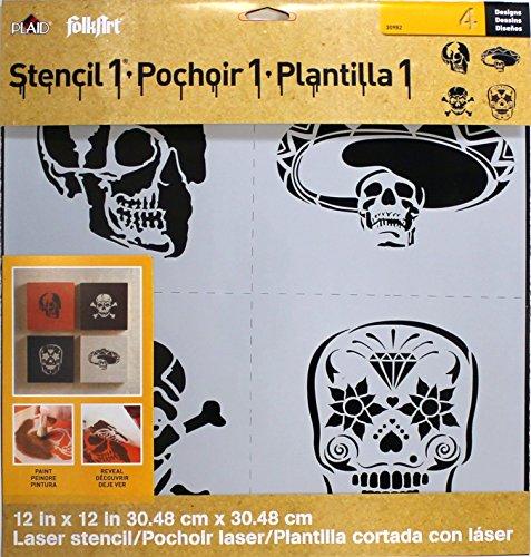 FolkArt Laser Stencil, 30982 Skull Set -