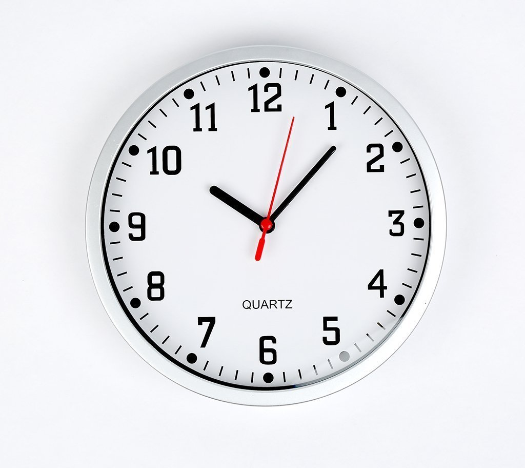 Brand New Silver Round ANALOGUE CLOCKS Ideal for Any Room in Home, Dining Room, Kitchen, Office, School Quartz Battery Operated Large Big Digits Classic Design With White Dial ITP