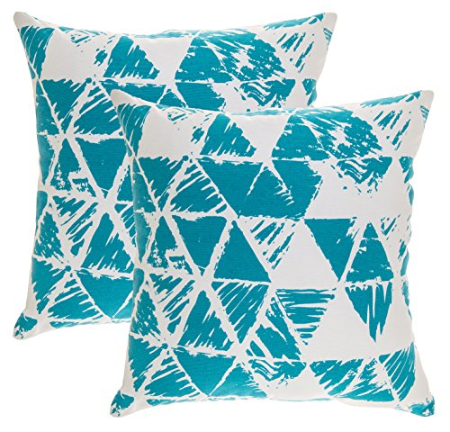 TreeWool 2 Pack Throw Pillow Covers Ikat Triangle Accent Decorative Pillowcases Toss Pillow Cushion Shams Slips Covers for Sofa Couch (18 x 18 Inches/45 x 45 cm; Turquoise), White Background ()