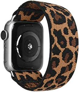 Tefeca Dark Cheetah/Leopard Pattern Elastic Compatible/Replacement Band for Apple Watch 42mm/44mm (Silver Adapter, S fits Wrist Size : 6.0-6.5 inch)