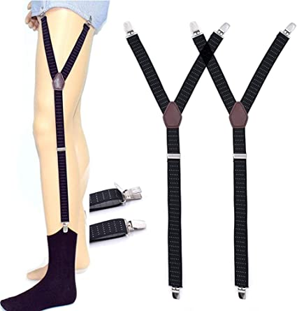 AOLVO - Cinturón elástico Ajustable para Hombre con Abrazaderas de Bloqueo Antideslizantes, Mantiene Las Camisas guardadas en los Calcetines y Calcetines, 1 par #1 Style: Amazon.es: Hogar