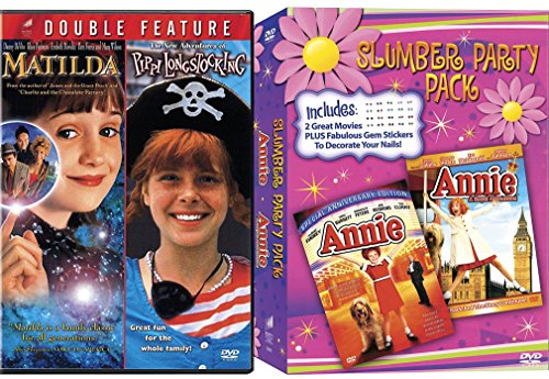 Annie Slumber Party Special Editon + Annie A royal Adventure Musical DVD Set & Matilda & Pippi Longstocking Girls Set