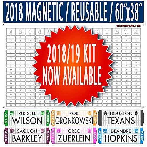 "The Draft Party Fantasy Football Draft Board – REUSABLE/PORTABLE – 2018/19 MAGNETIC Kit, 304 MOVABLE Names - Write/Erase Option – MULTI-SPORT (Baseball, Hockey, Basketball) – Large 60""x38"""