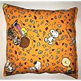 "Charlie Brown Pillow Snoopy Peanuts Leaves Harvest Fall Pillow Fall Harvest Halloween, Thanksgiving HANDMADE in USA NEW Pillow is approximately 10"" X 11"""