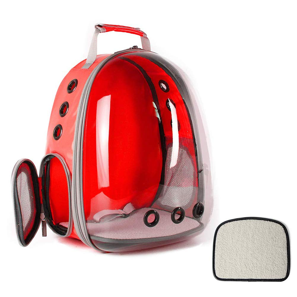 Red Transparent Airline Approved Pet Travel Backpack for Cat and Small Dogs,Space Capsule Bubble Design,Waterproof Portable Outdoor Travel Bag for Cat Kitten Dog Puppy