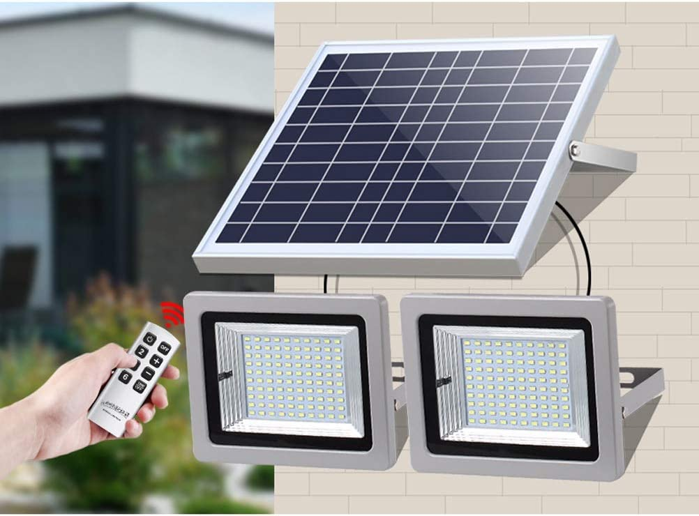 Foco Led Solar Exterior, luz de seguridad con paneles solares,iluminación solar a prueba de agua IP66 con control remoto for garaje, piscina, calle, letrero, cartelera (Color : 63 LED): Amazon.es: Iluminación