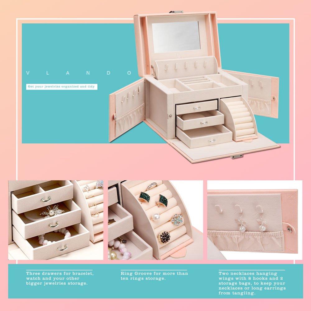 Vlando Jewelry Box, Faux Leather Medium Jewelry Organizer, Vintage gift for Women -Pink-Cross Pattern by Vlando (Image #6)