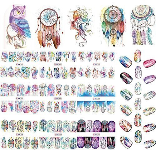 12 sets Purple owls dream catcher Spirit animal print NAIL WRAPS bohemian flower child hippie tie dye water color owl eyes tattoo nail decals paisley black henna nature skynail vinyls French nail tips by Tempea